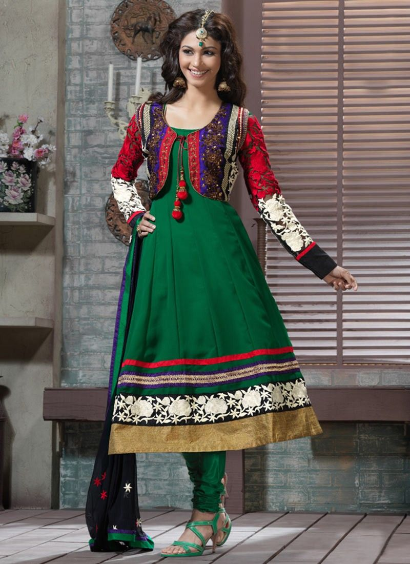 Bottle Green Anarkali Suit