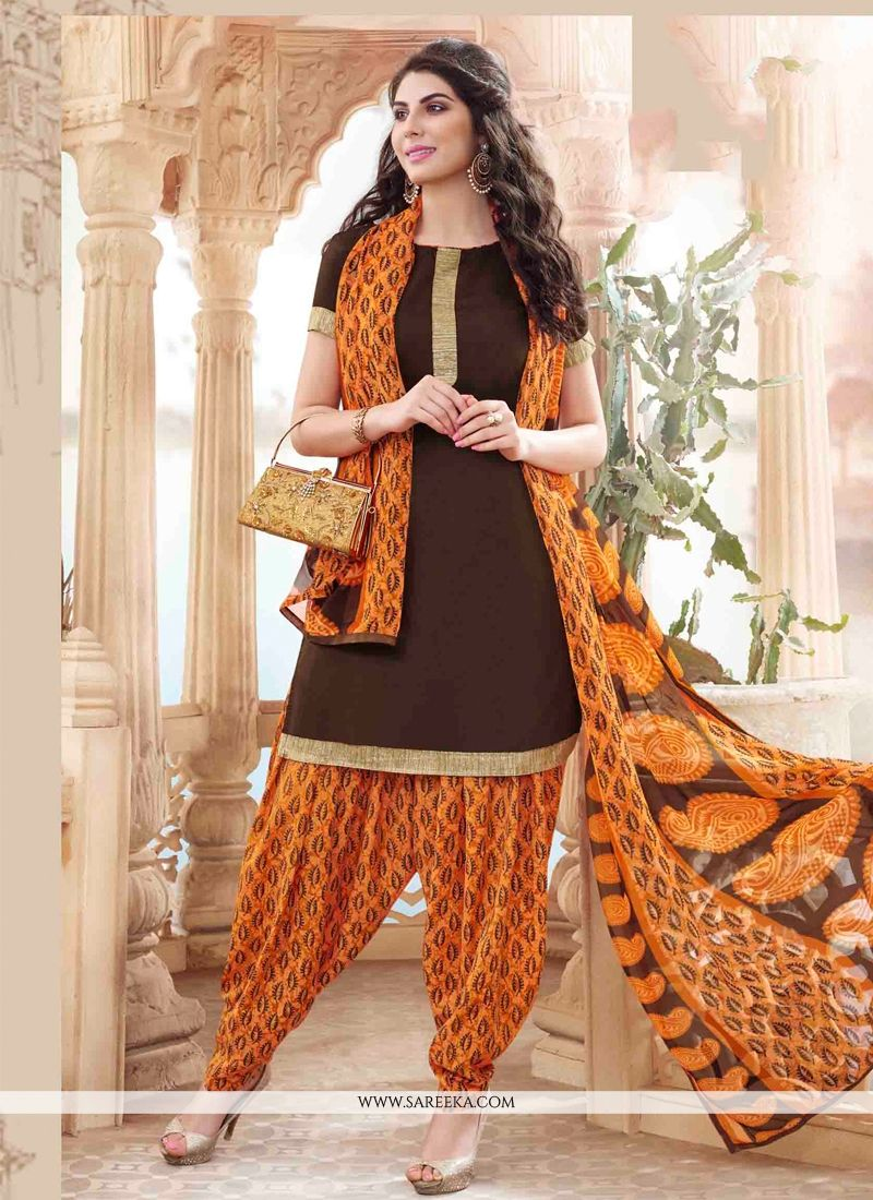 Brown Lace Work Cotton   Designer Patiala Suit