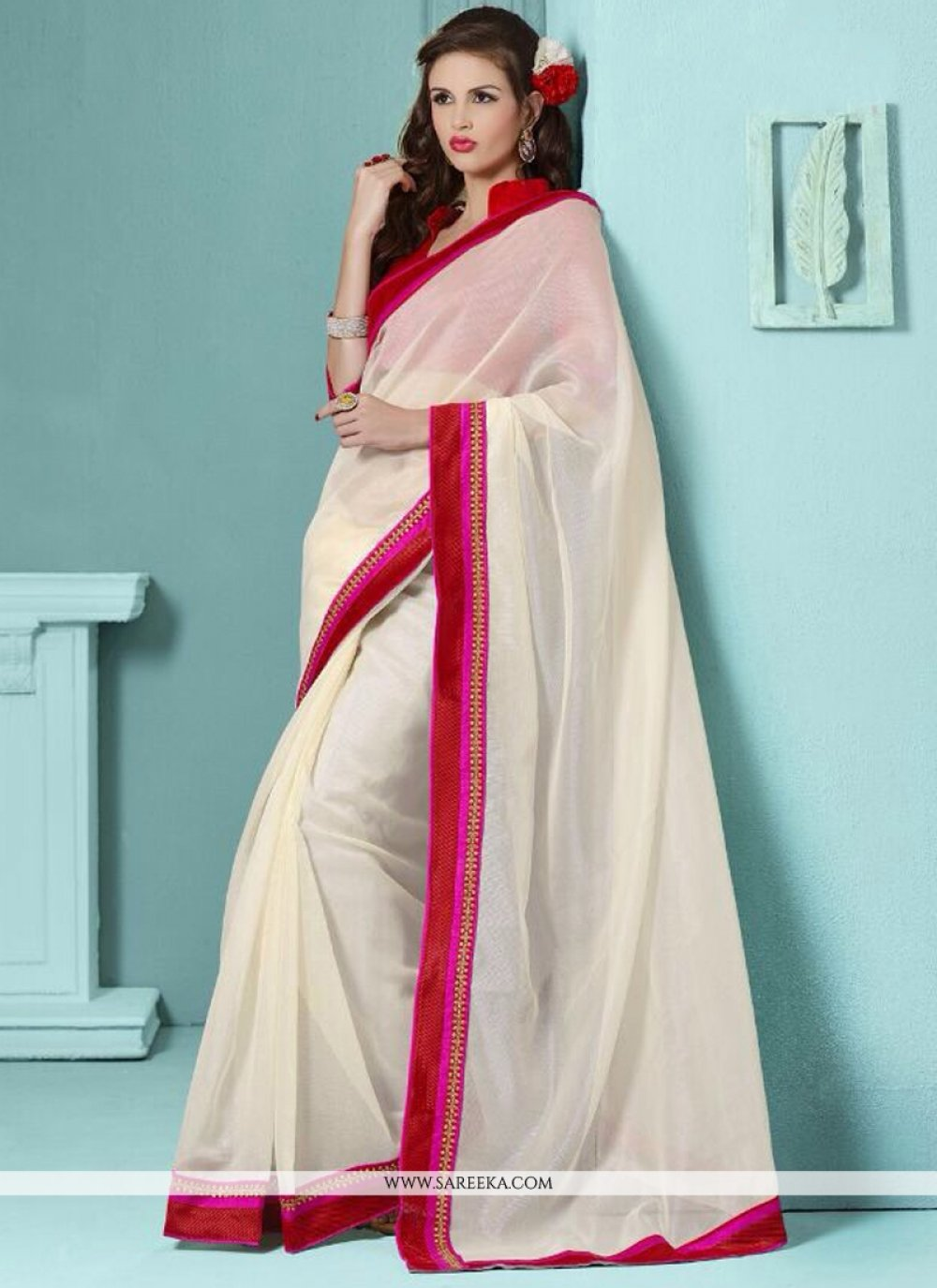 Lace Work Off White Casual Saree