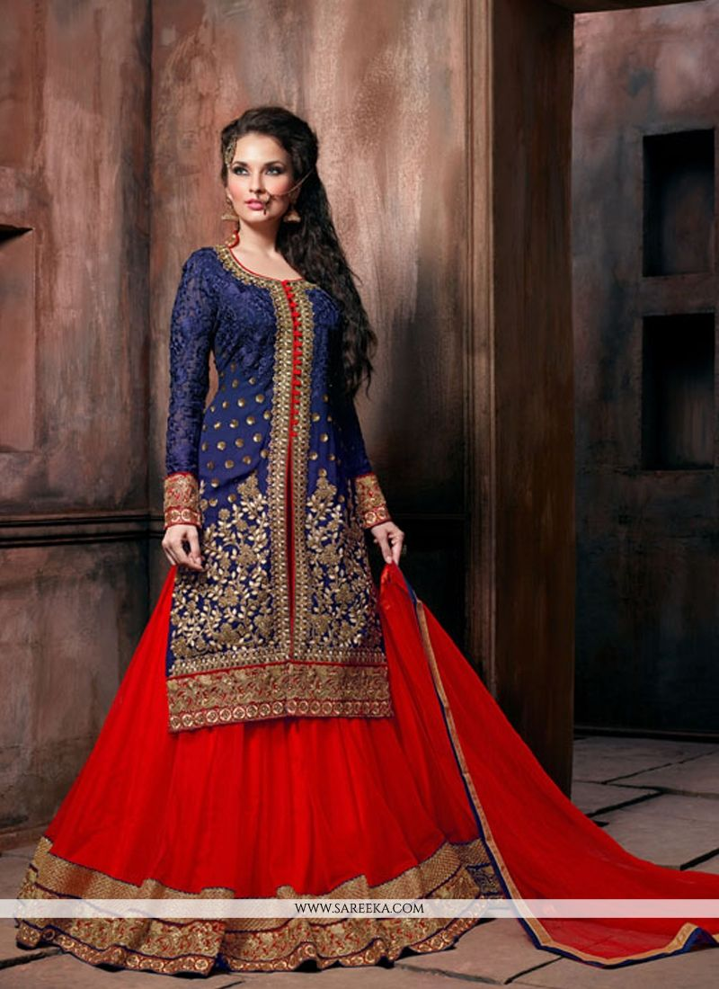 Patch Border Work Red and Blue Designer Lehenga Choli