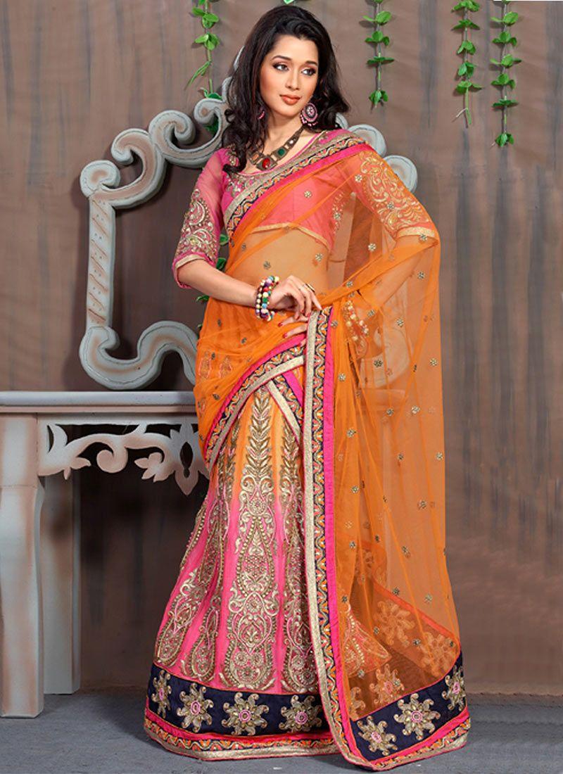 Pink And Orange Embroidered Work Lehenga Saree
