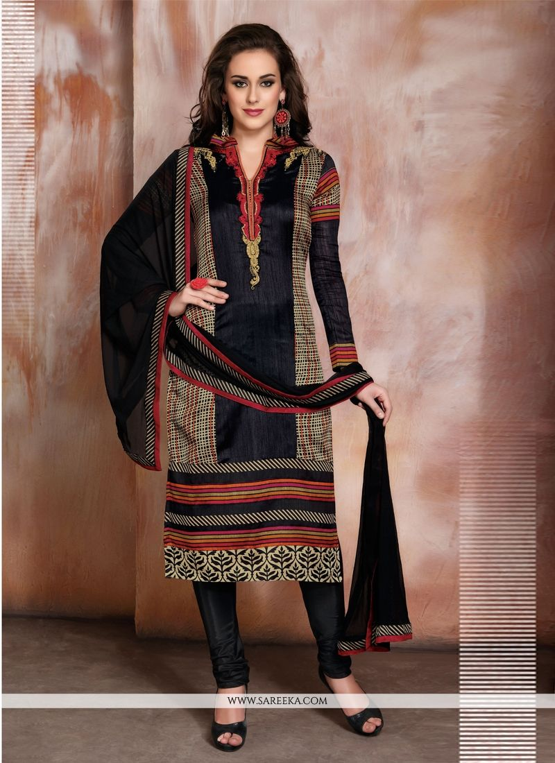 Raw Silk Black Resham Work Churidar Designer Suit
