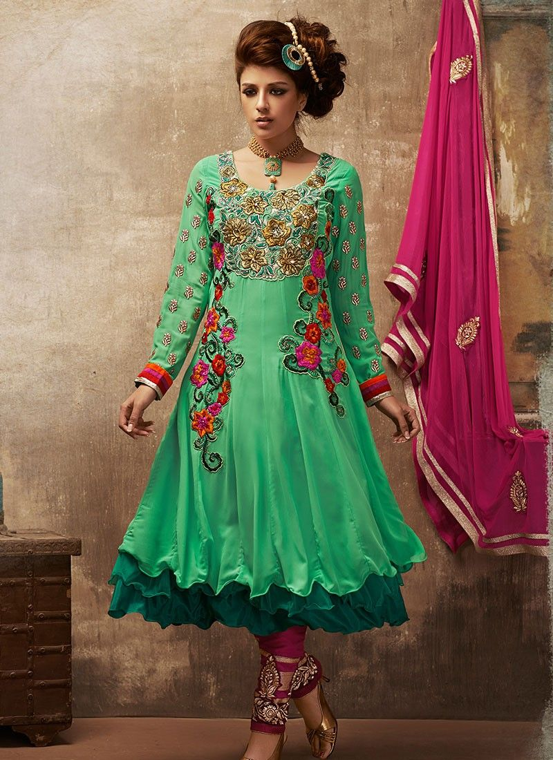 Turquoise Net Stylish Anarkali Suit.