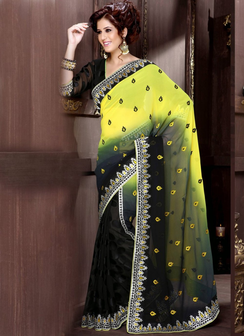 Yellow And Black Faux Georgette Saree