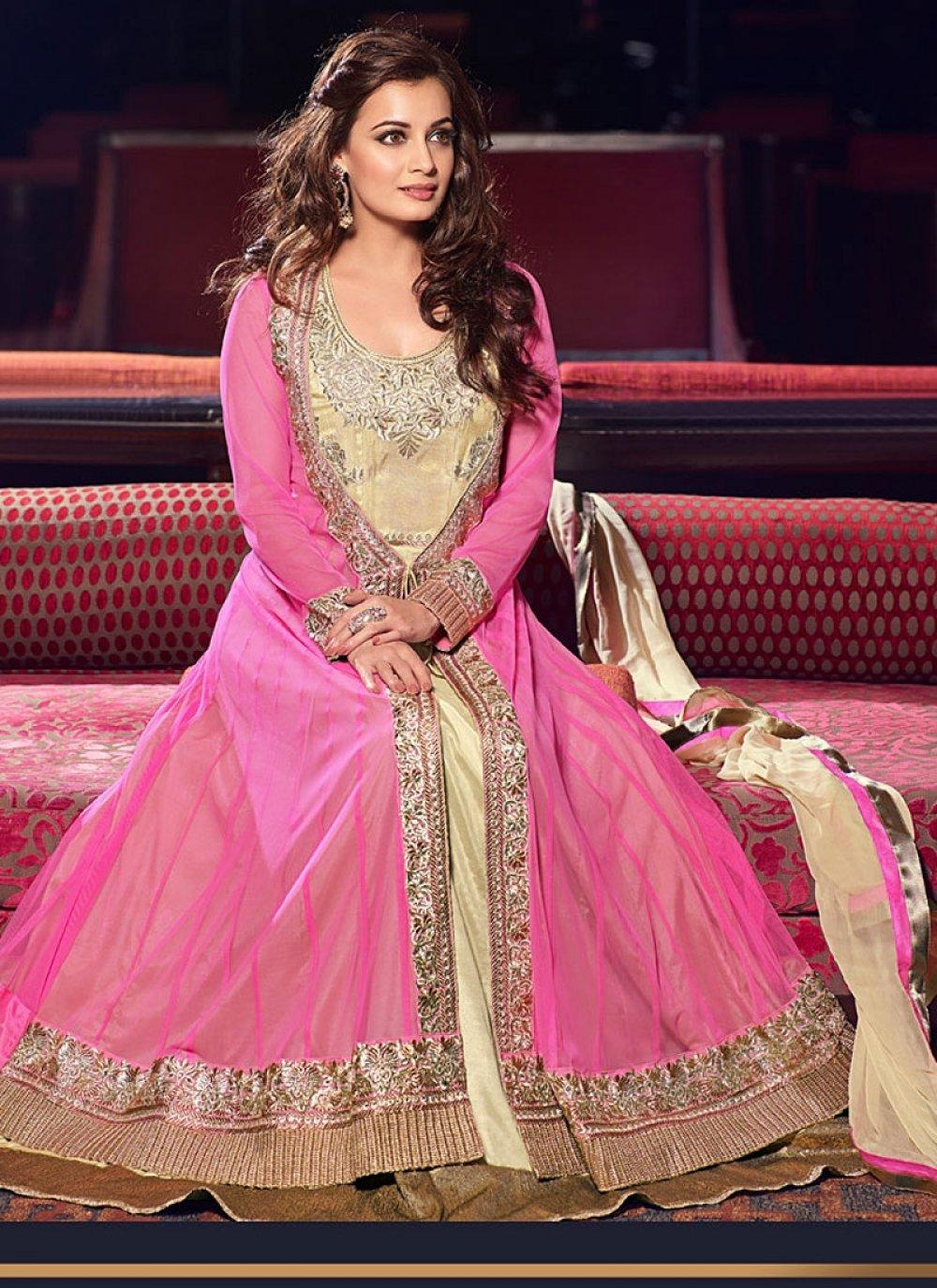 Diya Mirza Beige And Pink Zari Work Net Anarkali Suit
