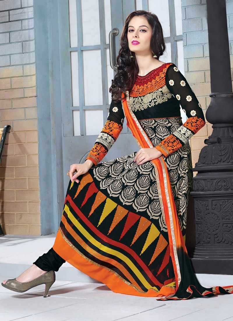 Black Embroidery Churidar Suit