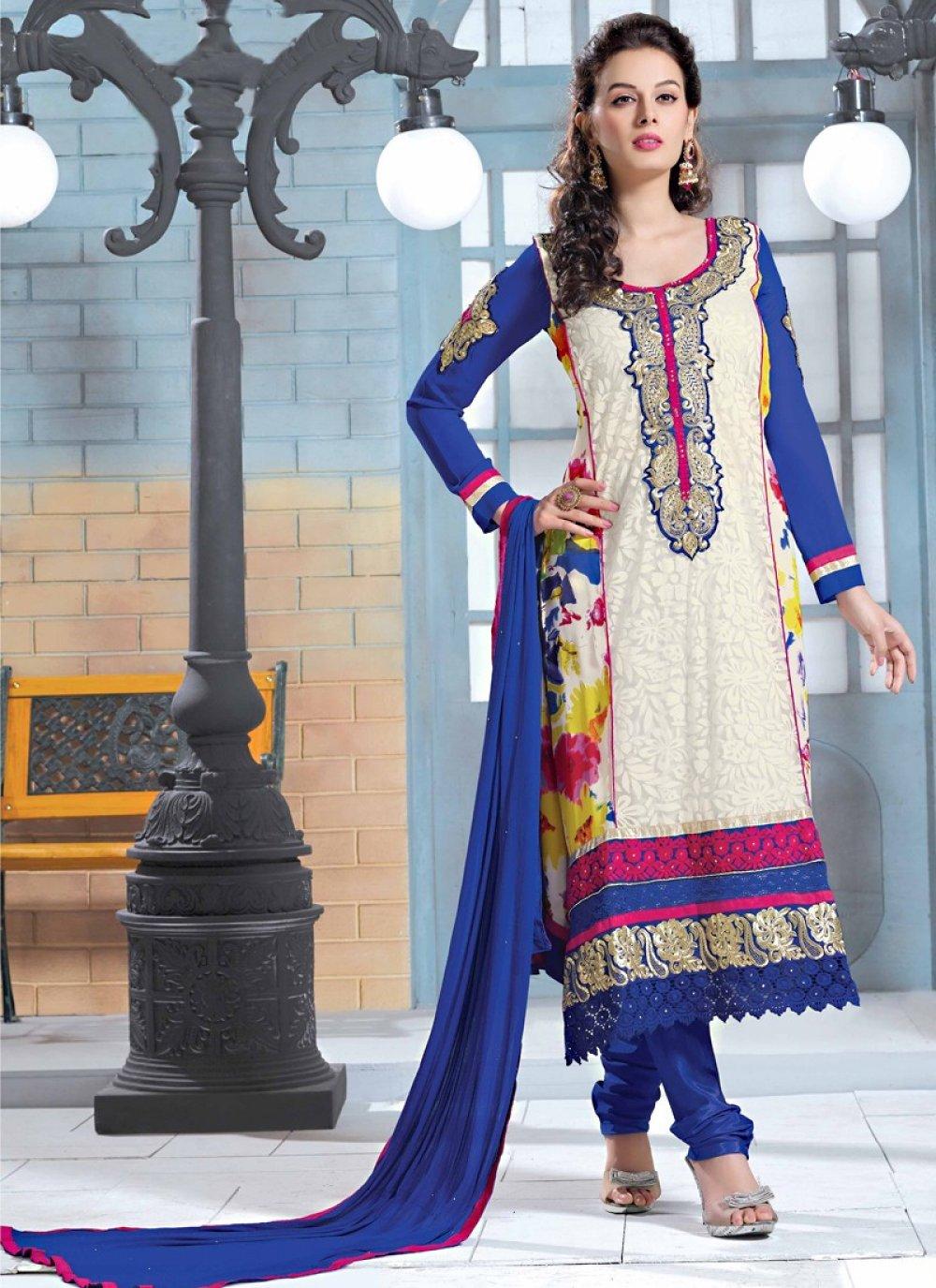 Blue And Cream Georgette Salwar Suit