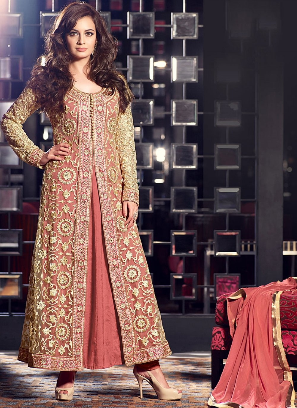 Diya Mirza Brown And Beige Resham Faux Georgette Anarkali Suit