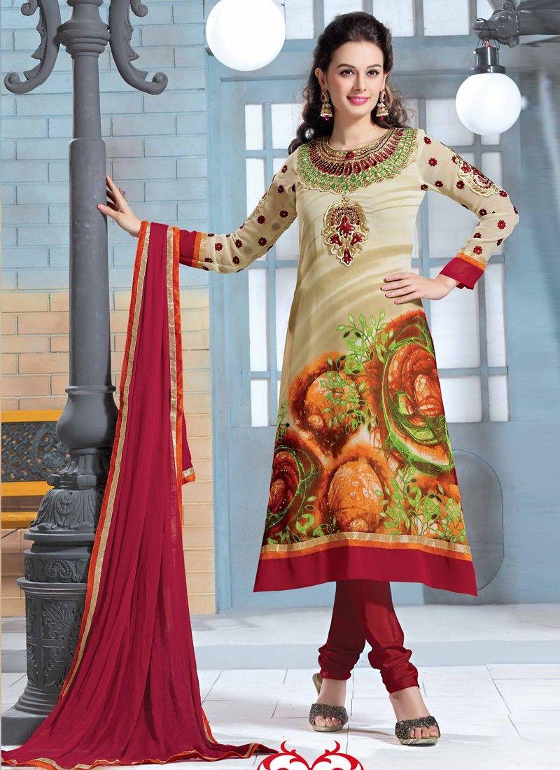 Cream Georgette Churidar Salwar Suit
