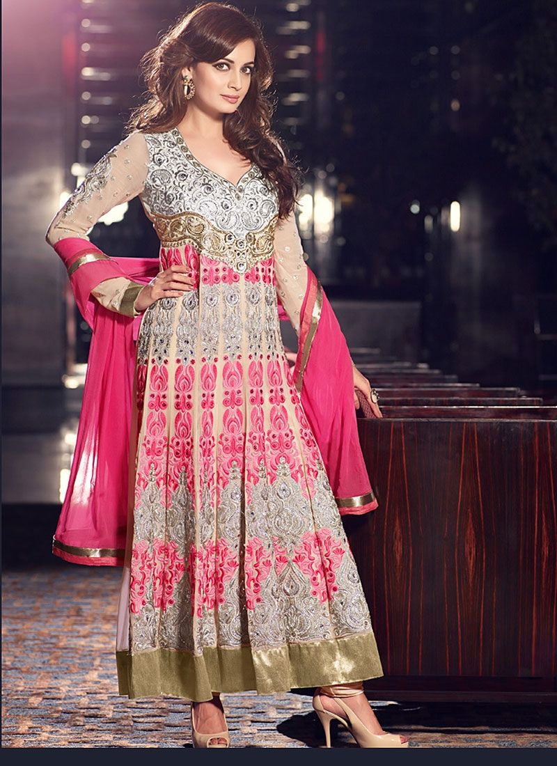Diya Mirza Gey And Pink Resham Net Georgette Anarkali Suit