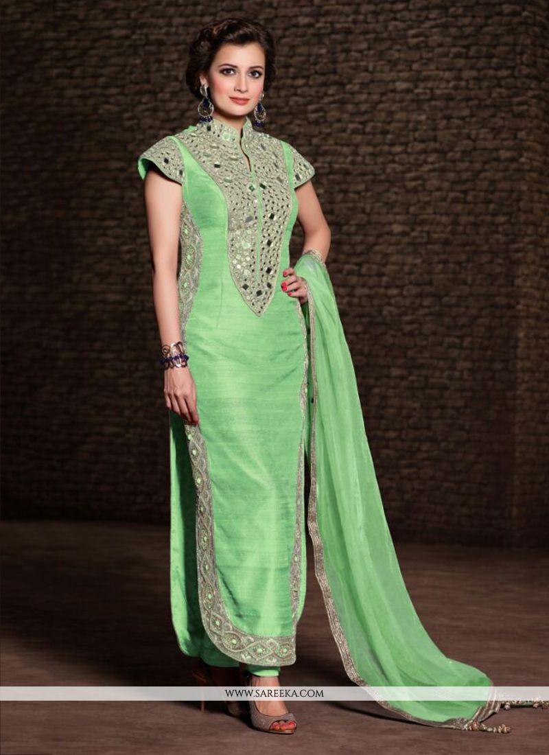 Mirza Green Banarasi Silk Churidar Salwar Suit