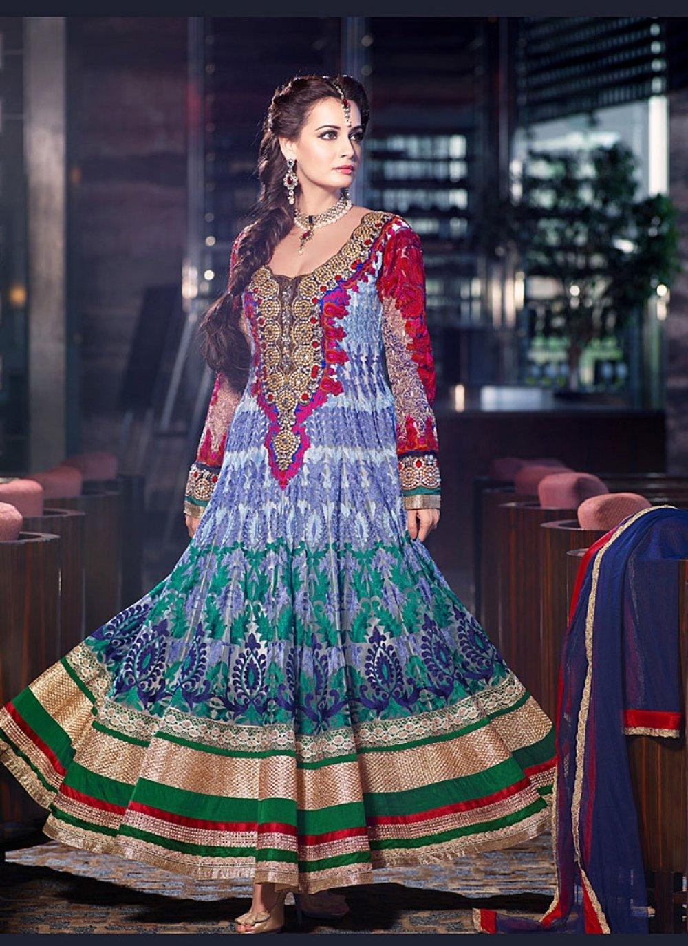 Diya Mirza Multi Color Embroidery Work Net Anarkali Suit