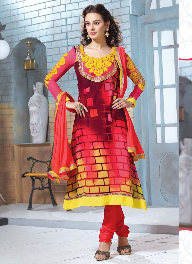 Multicolor Churidar Salwar Suit