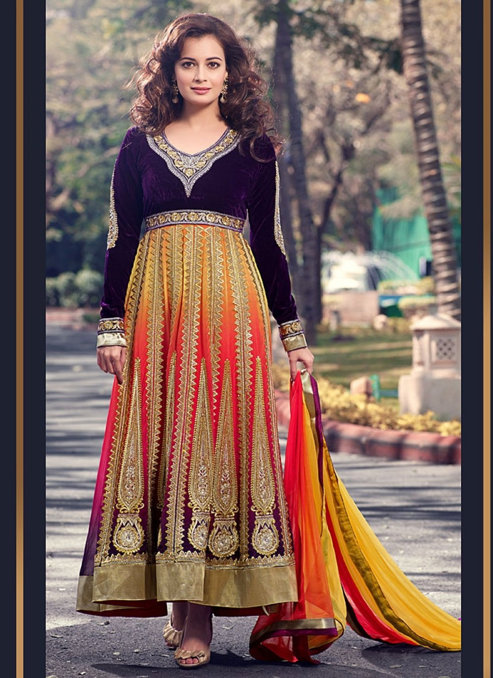 Diya Mirza Multicolor Embroidery Net Velvet Anarkali Suit