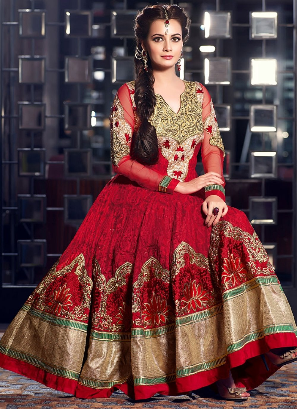 Diya Mirza Red Resham Faux Georgette Anarkali Suit