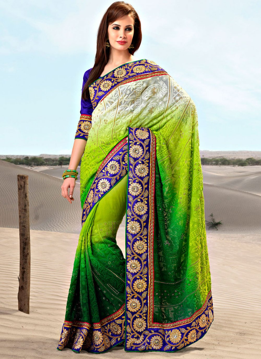 Dual Shade Embroidered Georgette Saree