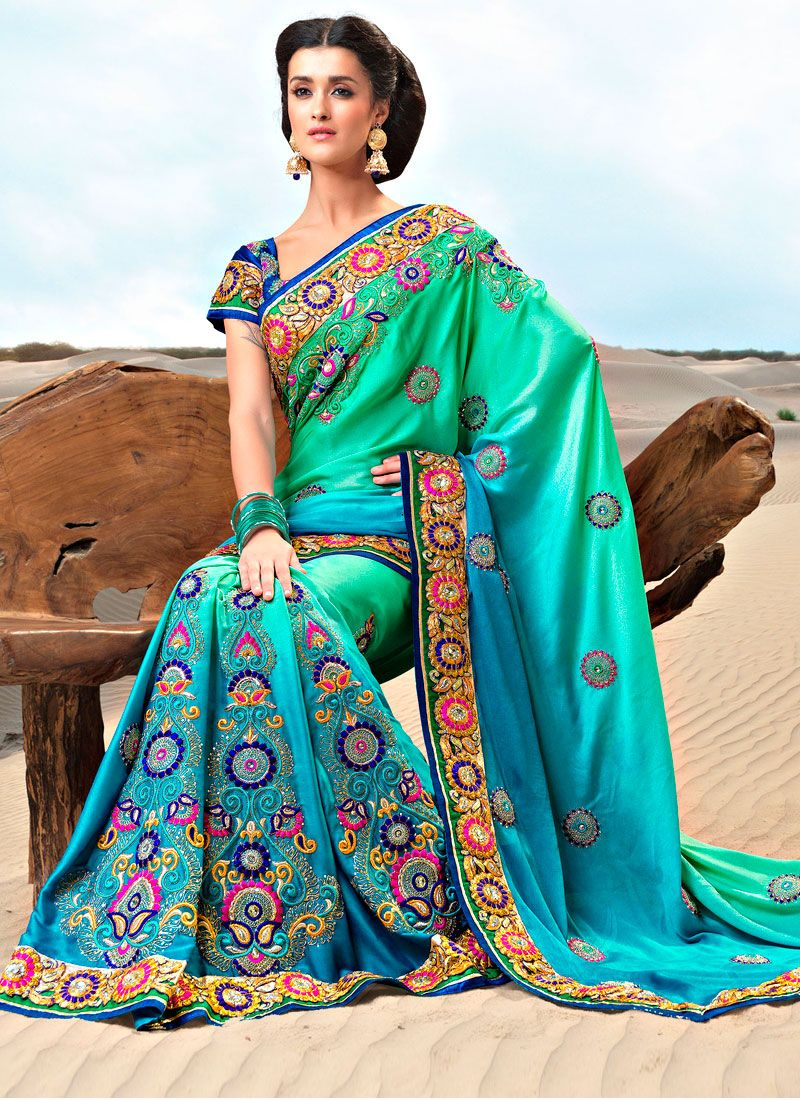 Dual Shade Embroidered Satin Saree