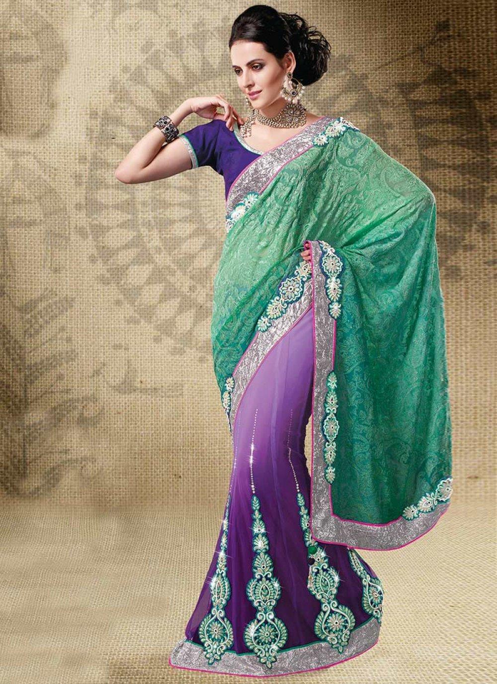 Dual Shade Lehenga Style Saree