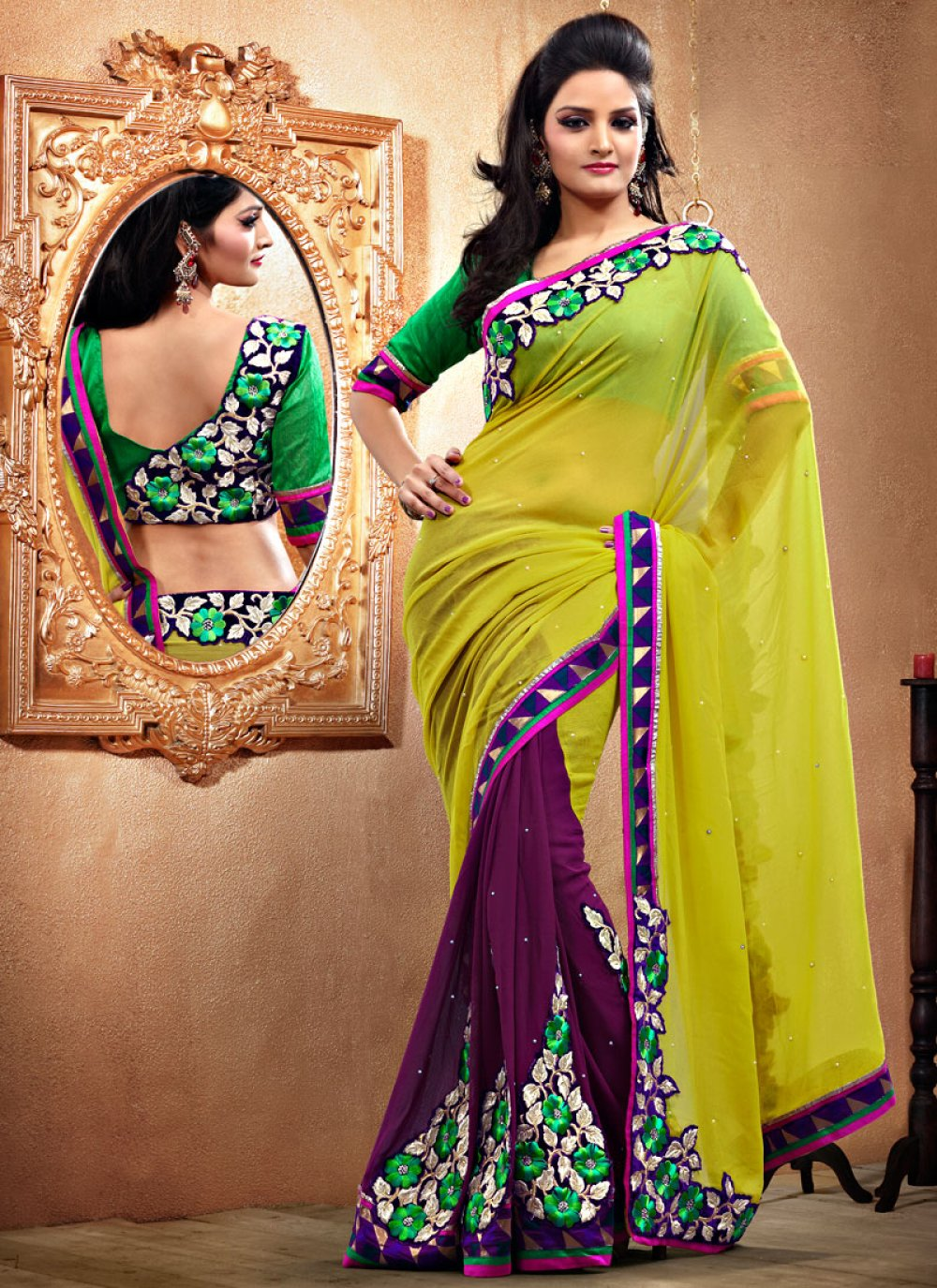 Dusty Green And Purple Faux Georgette Saree