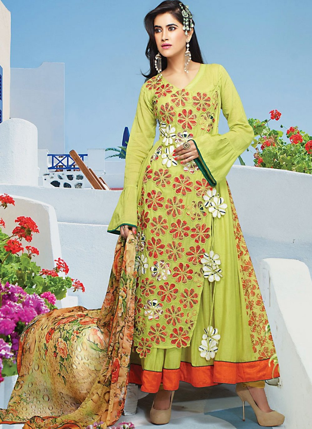 Dusty Green Faux Georgette Anarkali Suit