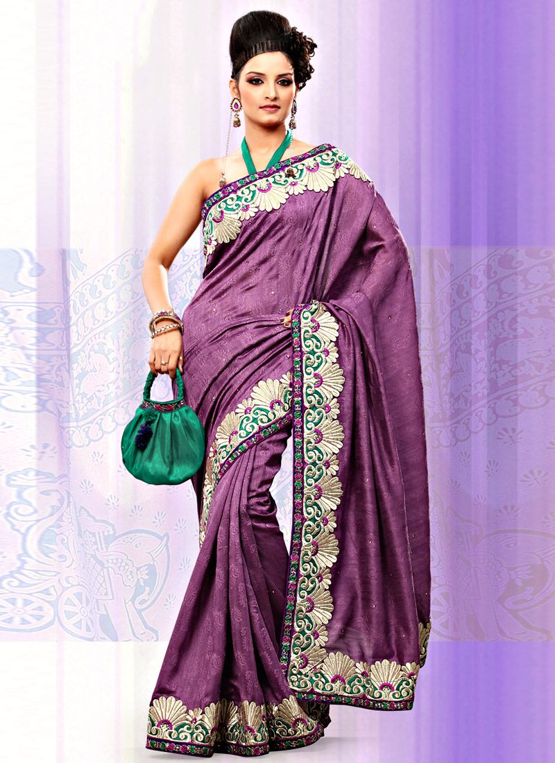 Dusty Purple Art Bhagalpuri Jacquard Silk Saree