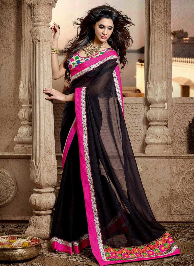 Earthy Black Look Georgette Saree