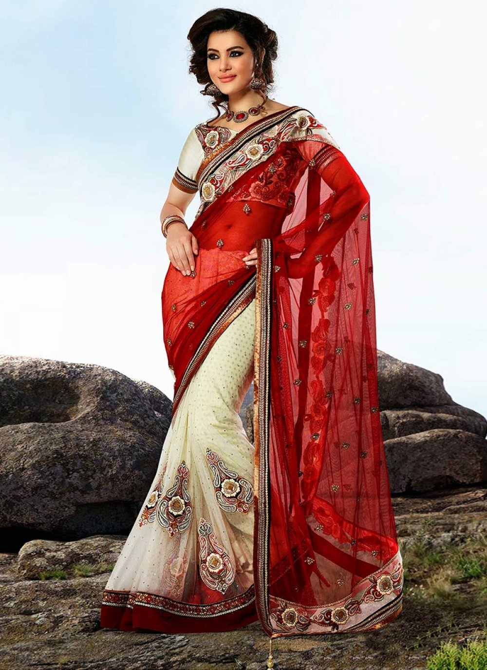 Earthy Cream And Red Half And Half Saree
