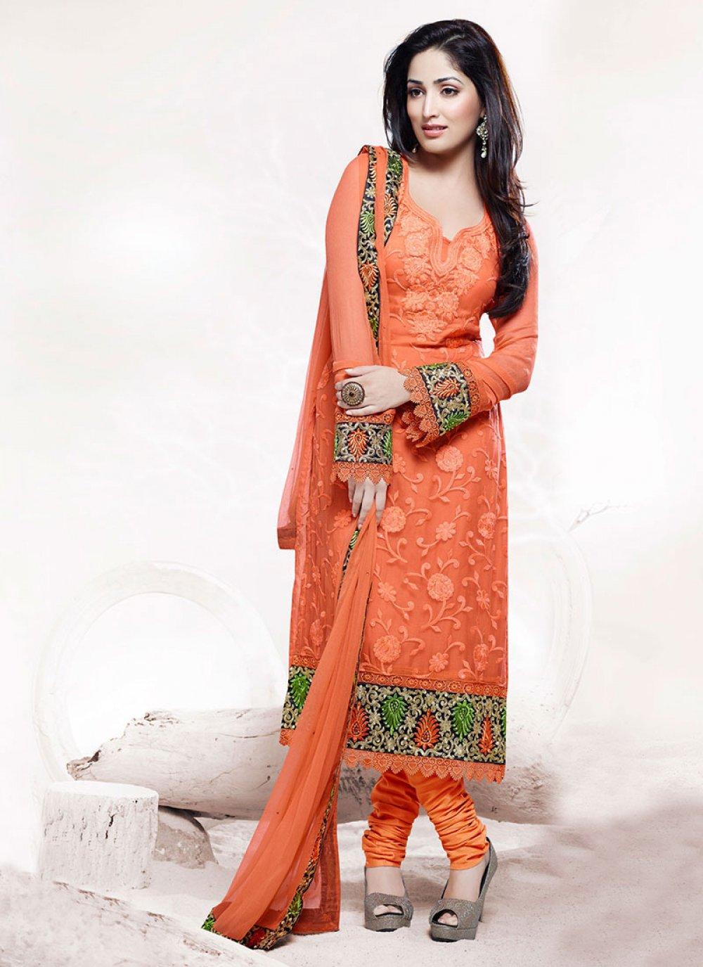 Earthy Orange Faux Chiffon Churidar Suit