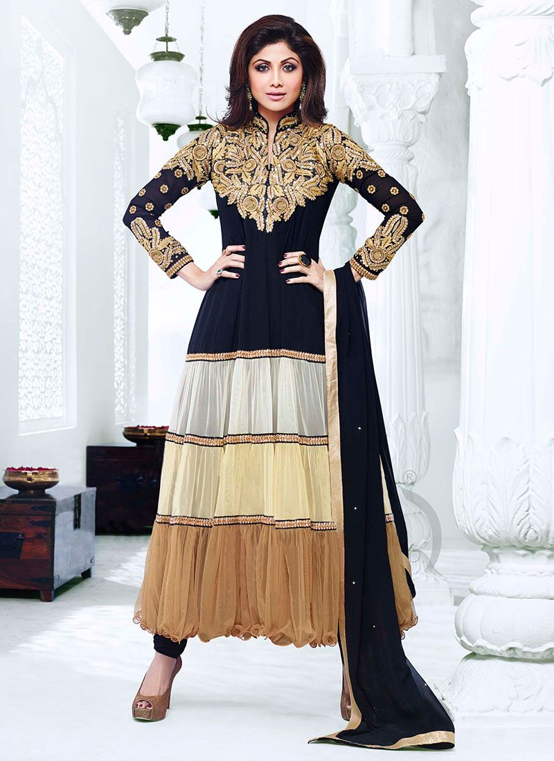 Earthy Shilpa Shetty Black And Brown Tiered Anarkali Suit