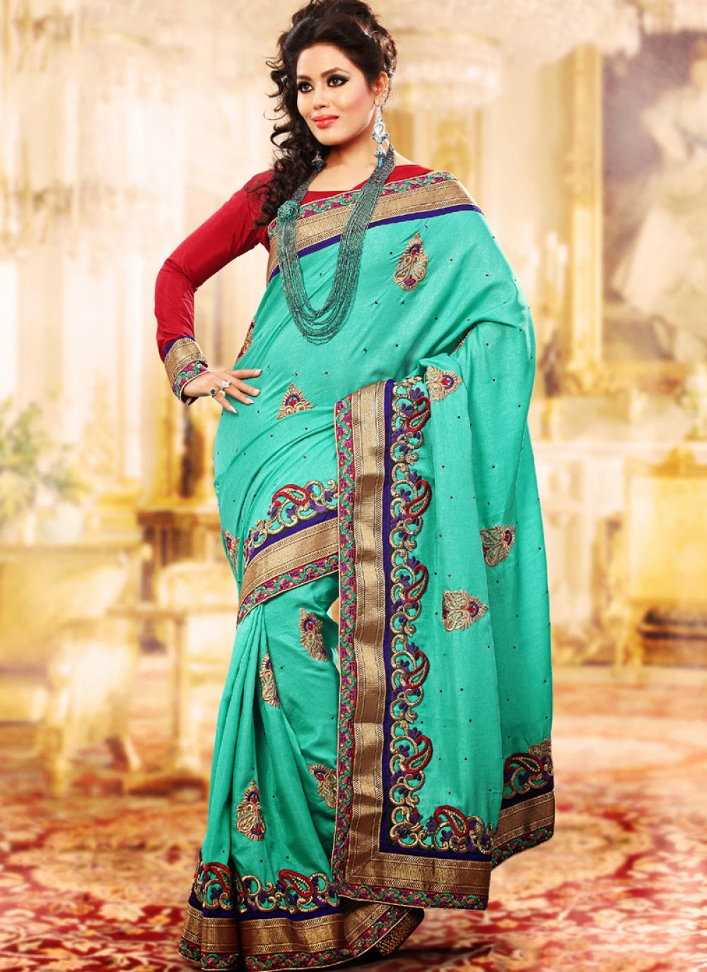 Aqua Blue Embroidered Saree