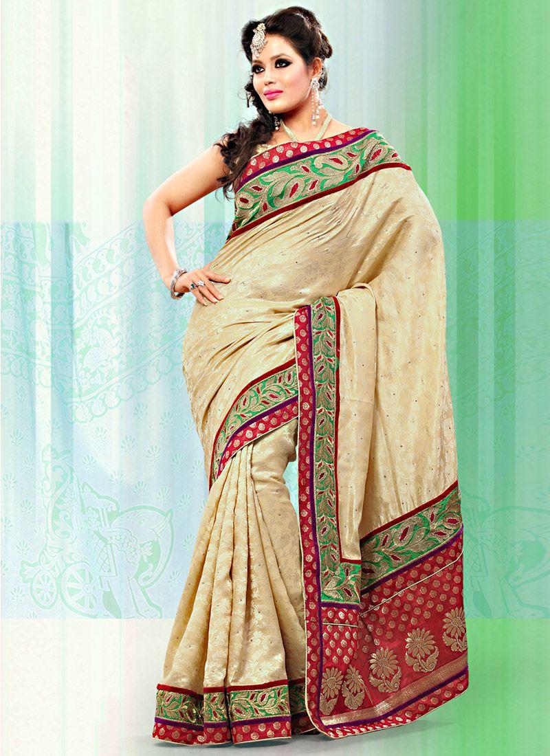 Beige Art Bhagalpuri Jacquard Silk Saree