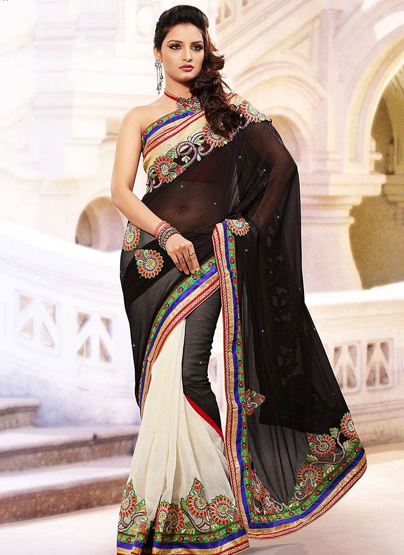 Black And White Half And Half Saree