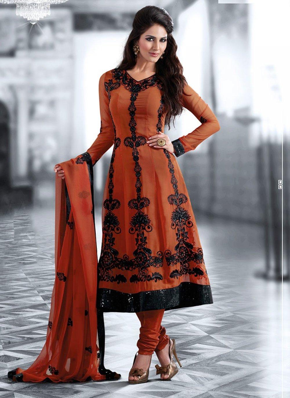 Black & Coral Salwar Kameez