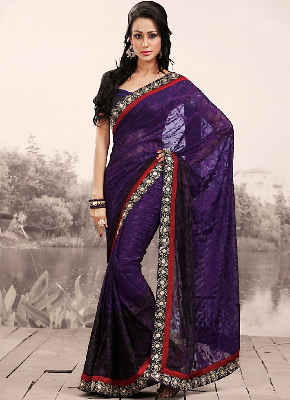 Black & Navy Blue Embroidered Saree