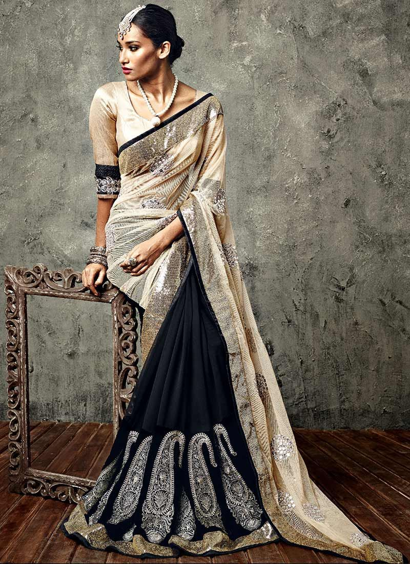 Black Resham Work IIFA Paisley Embroidered Saree