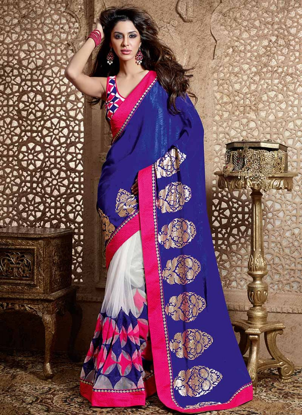 Blue And Off White Velvet And Net Saree