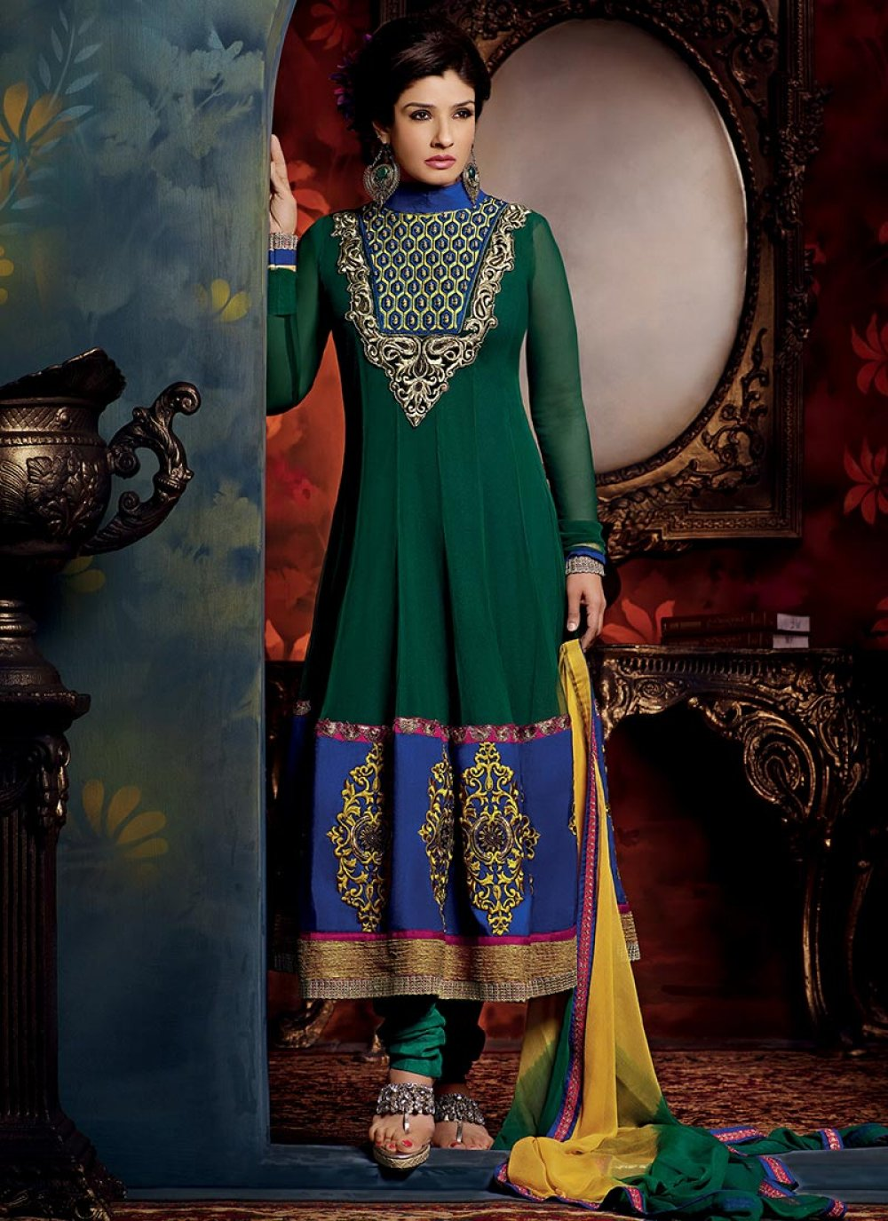 Bottle Green Georgette Churidar Suit