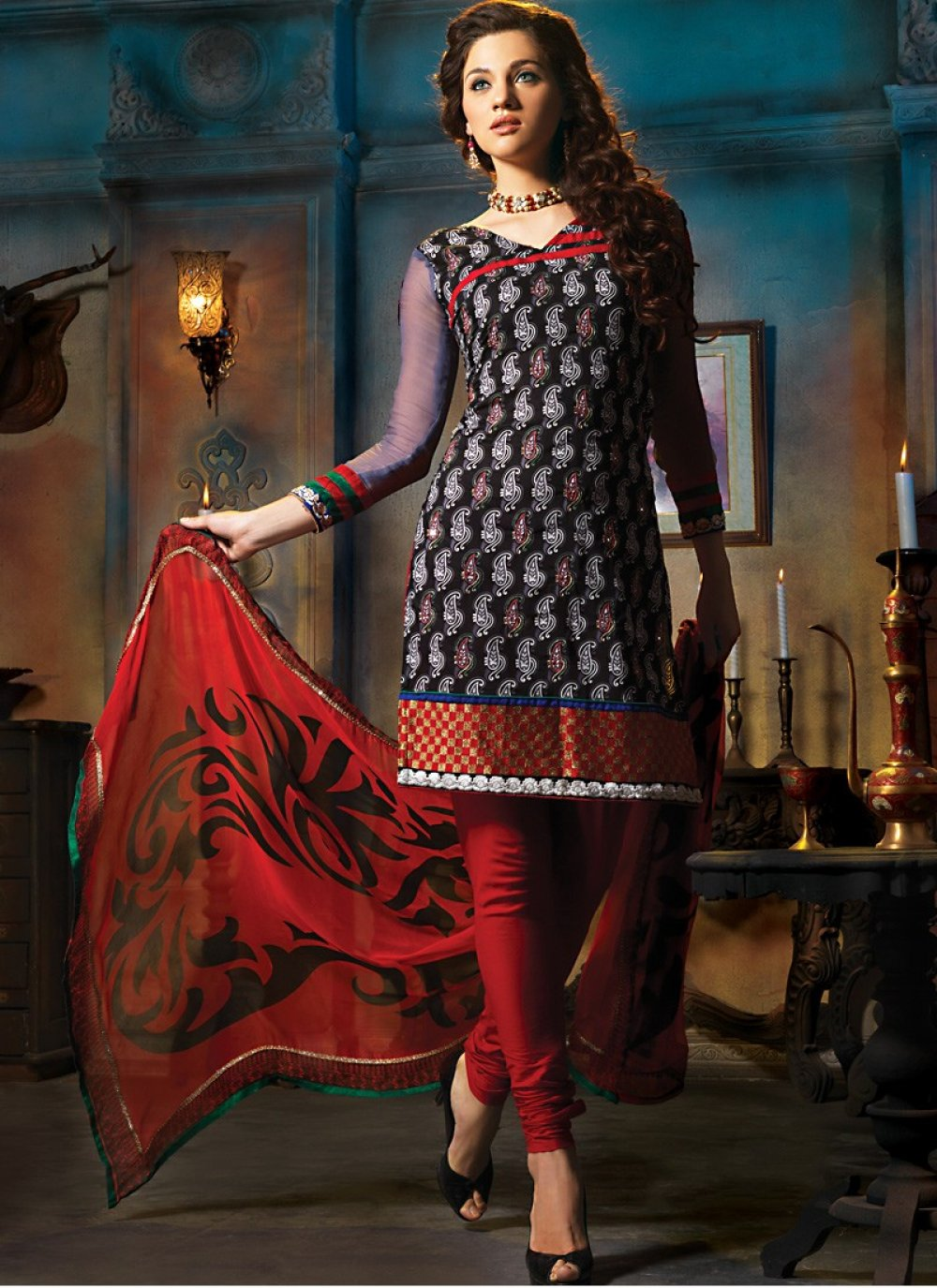 Brick Red & Black Salwar Kameez