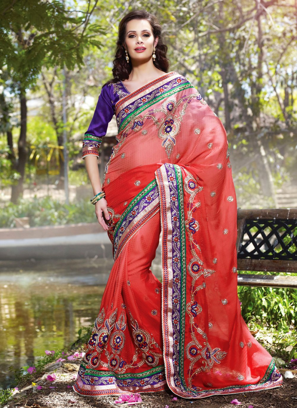 Coral Embroidered Saree