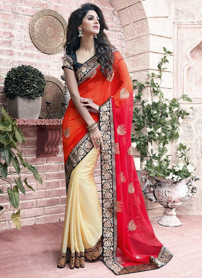Cream And Orange Chiffon Half And Half Saree