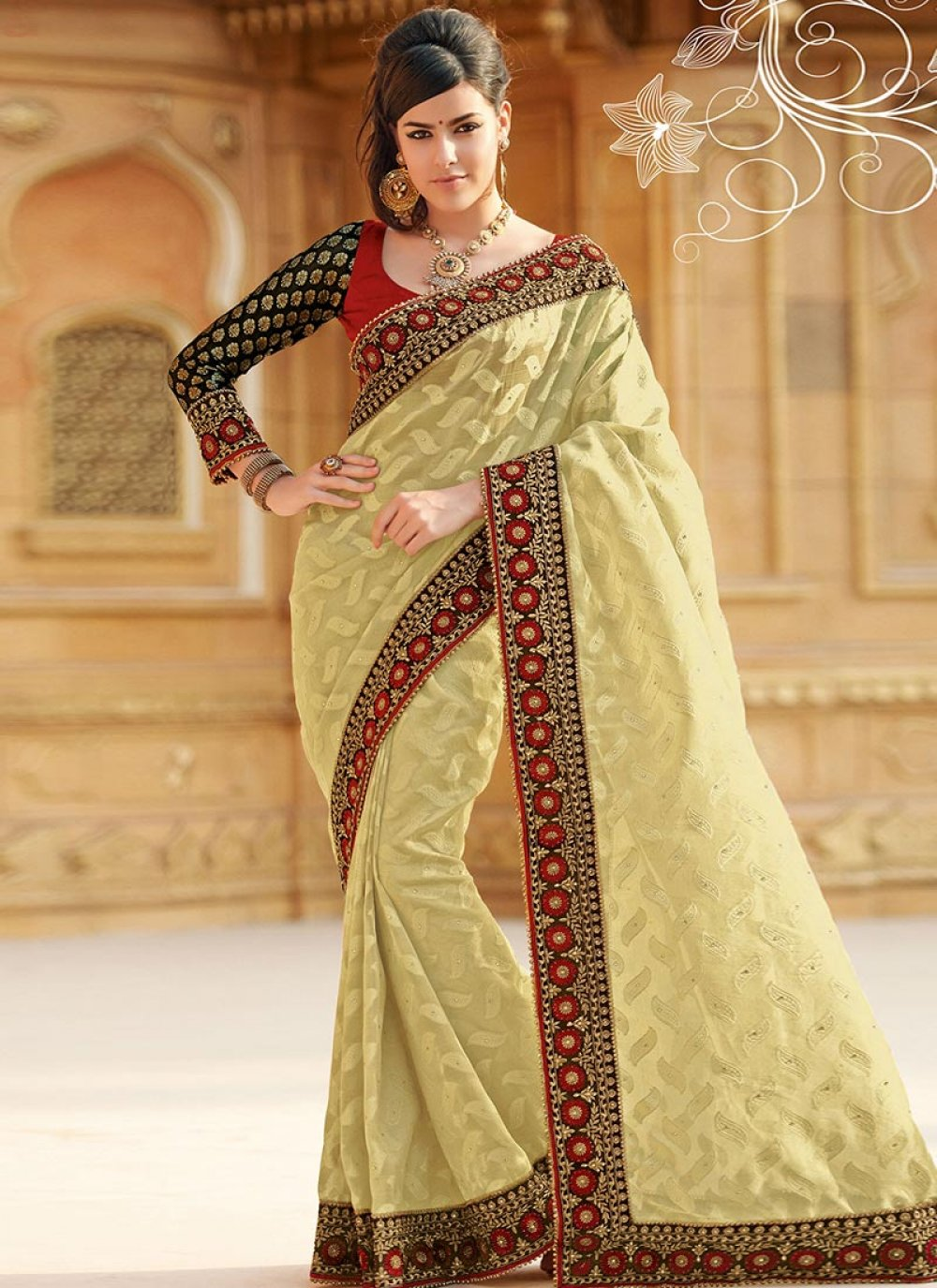Cream Art Silk Saree