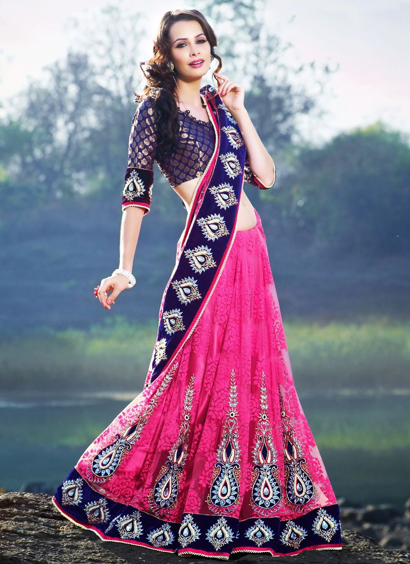 Deep Pink & Navy Blue Embroidered Saree