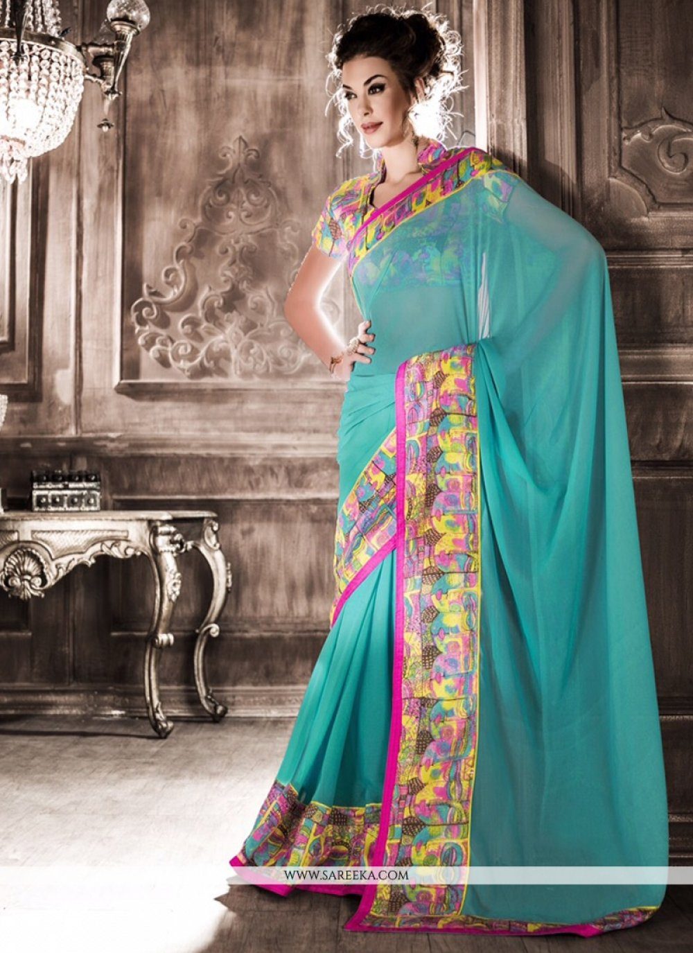 Georgette Turquoise Print Work Casual Saree