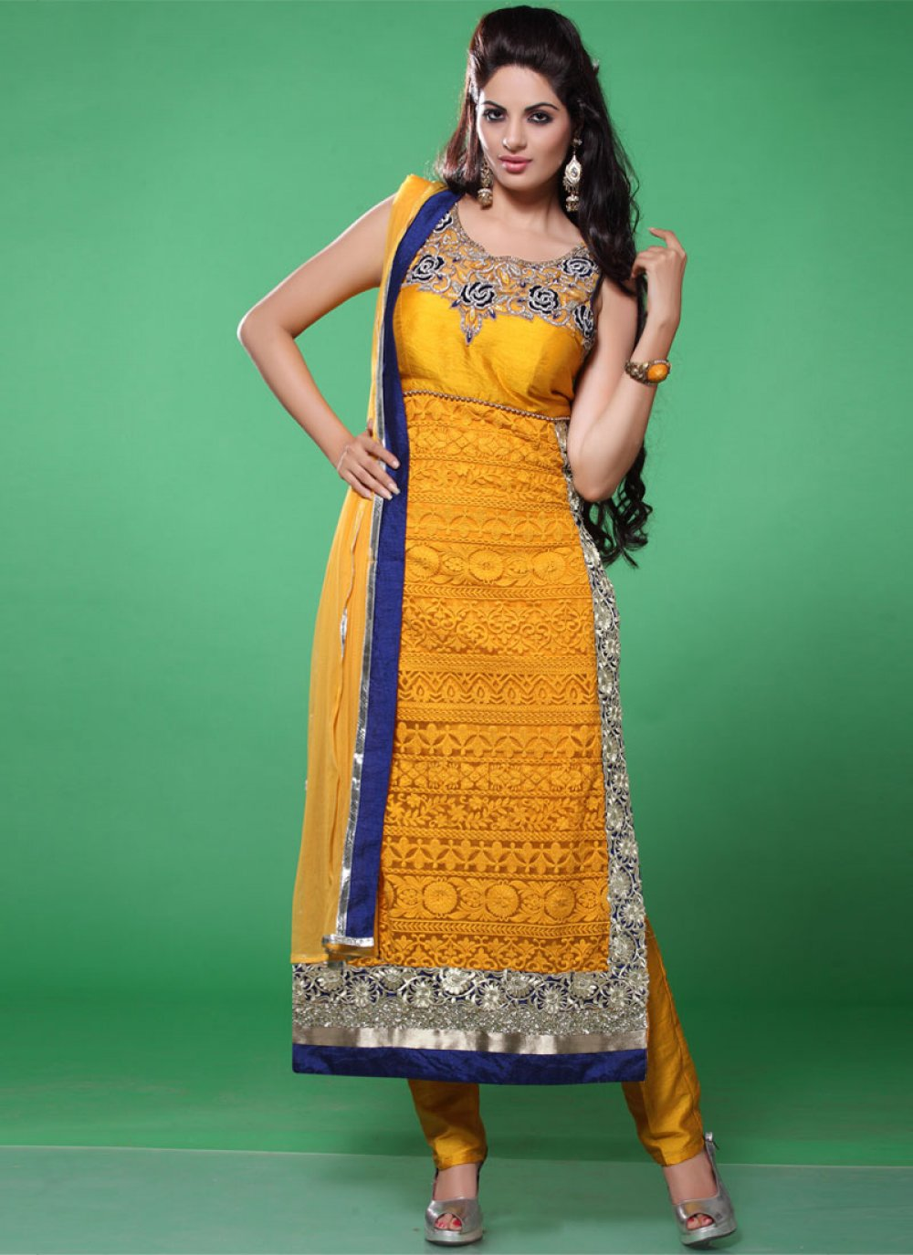 Gold And Silver Zari Work Georgette Churidar Suit