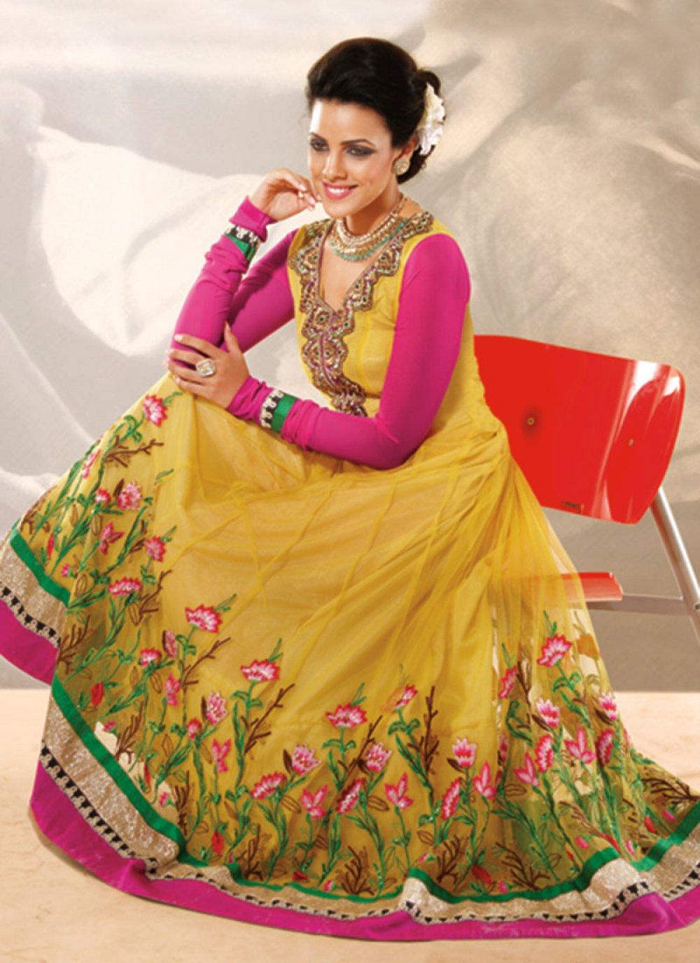 Gold Kasab Work Anarkali Suit