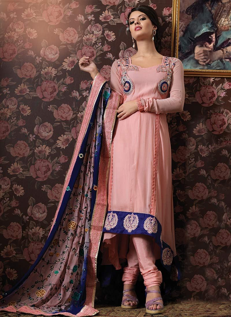 Mauve Georgette Churidar Suit