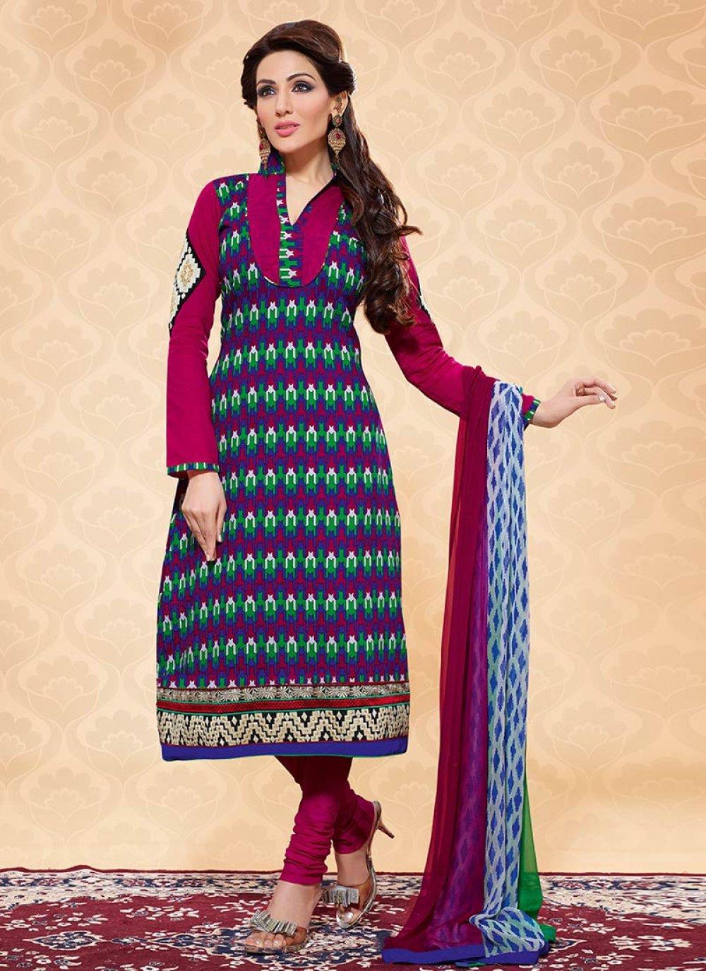 Multicolor Printed Cotton Churidar Suit