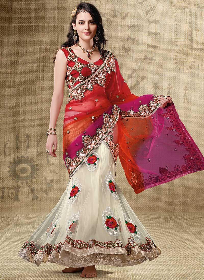 Net Lehenga Style Saree