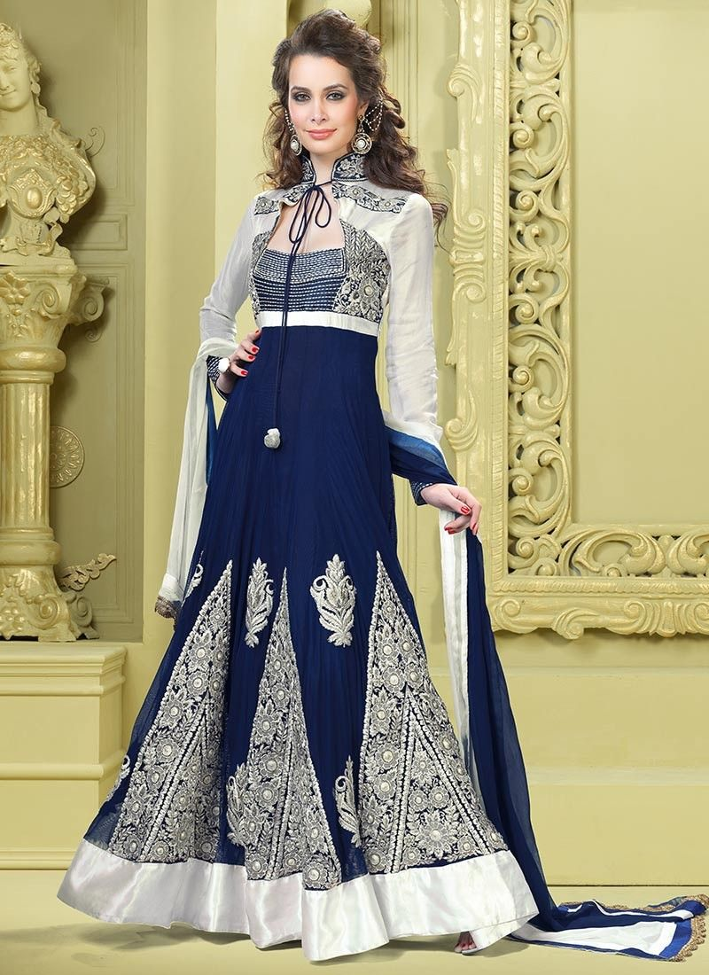 Off White & Royal Blue Salwar Kameez