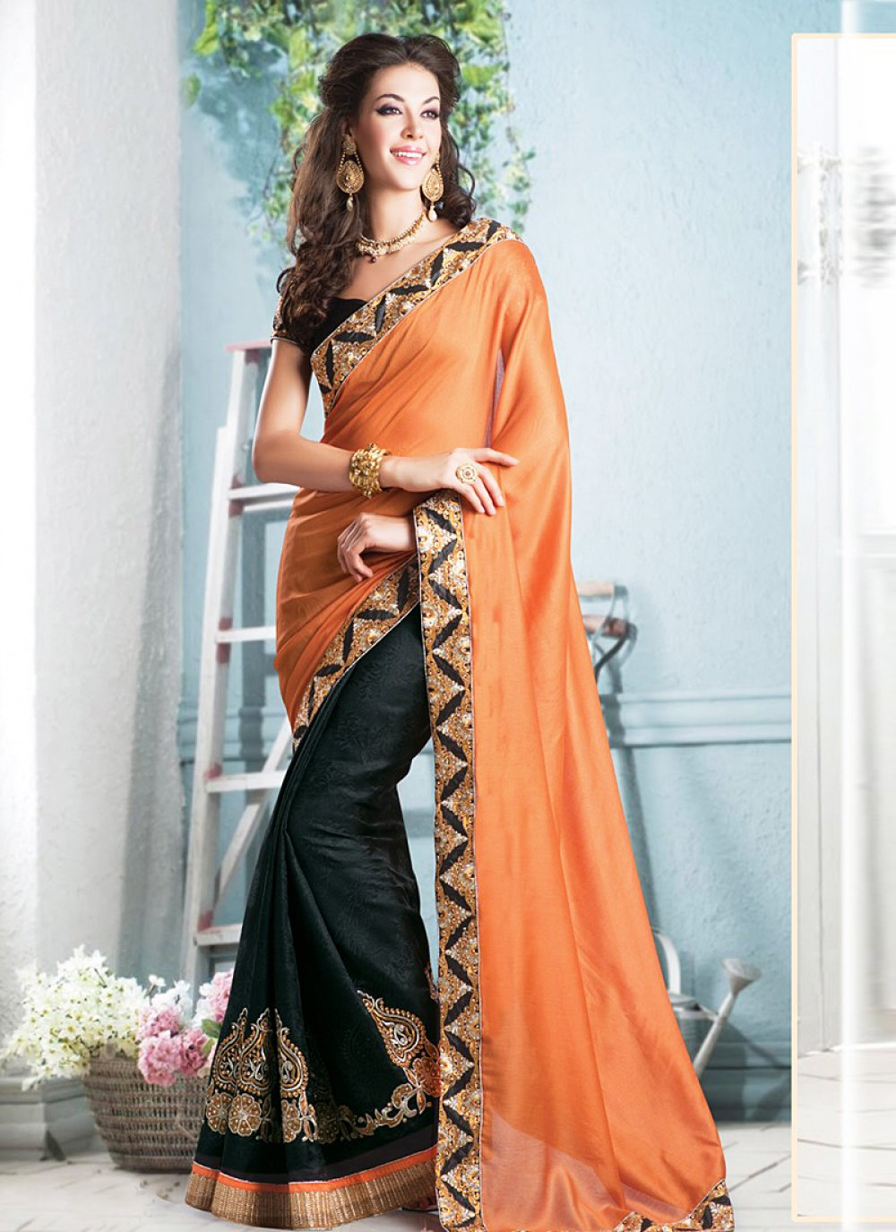 Orange And Black Zari Cotton Jacquard Saree
